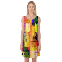 Abstract Squares Background Pattern Sleeveless Satin Nightdress