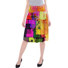 Abstract Squares Background Pattern Midi Beach Skirt