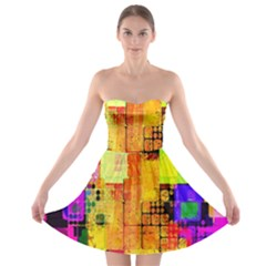 Abstract Squares Background Pattern Strapless Bra Top Dress