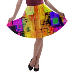 Abstract Squares Background Pattern A-line Skater Skirt