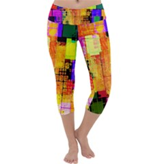 Abstract Squares Background Pattern Capri Yoga Leggings
