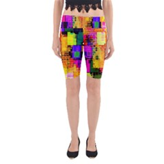 Abstract Squares Background Pattern Yoga Cropped Leggings