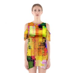 Abstract Squares Background Pattern Shoulder Cutout One Piece