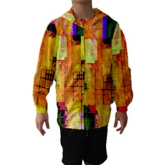 Abstract Squares Background Pattern Hooded Wind Breaker (Kids)