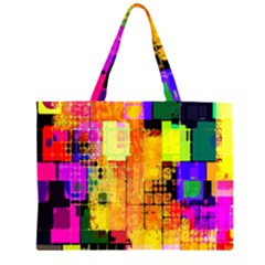 Abstract Squares Background Pattern Large Tote Bag
