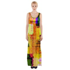 Abstract Squares Background Pattern Maxi Thigh Split Dress