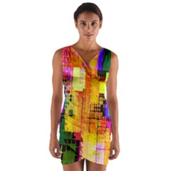 Abstract Squares Background Pattern Wrap Front Bodycon Dress