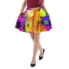 Abstract Squares Background Pattern A-Line Pocket Skirt