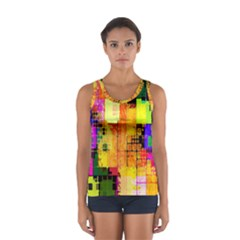 Abstract Squares Background Pattern Women s Sport Tank Top