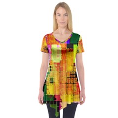 Abstract Squares Background Pattern Short Sleeve Tunic