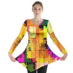Abstract Squares Background Pattern Long Sleeve Tunic