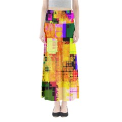 Abstract Squares Background Pattern Maxi Skirts