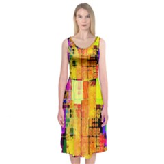 Abstract Squares Background Pattern Midi Sleeveless Dress