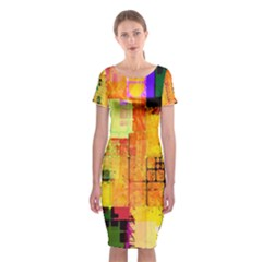 Abstract Squares Background Pattern Classic Short Sleeve Midi Dress