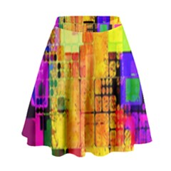 Abstract Squares Background Pattern High Waist Skirt