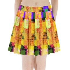 Abstract Squares Background Pattern Pleated Mini Skirt