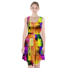Abstract Squares Background Pattern Racerback Midi Dress