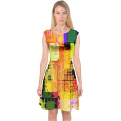 Abstract Squares Background Pattern Capsleeve Midi Dress
