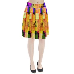 Abstract Squares Background Pattern Pleated Skirt