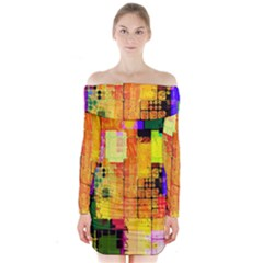Abstract Squares Background Pattern Long Sleeve Off Shoulder Dress
