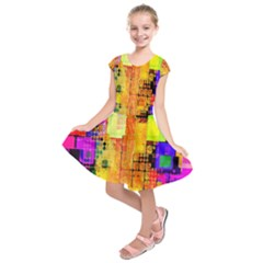 Abstract Squares Background Pattern Kids  Short Sleeve Dress