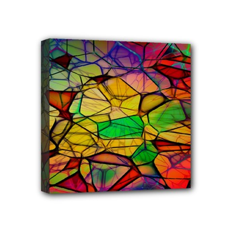 Abstract Squares Triangle Polygon Mini Canvas 4  x 4