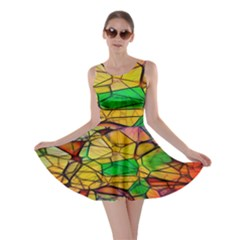Abstract Squares Triangle Polygon Skater Dress