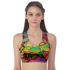 Abstract Squares Triangle Polygon Sports Bra