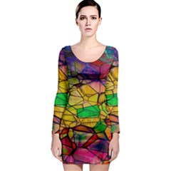 Abstract Squares Triangle Polygon Long Sleeve Bodycon Dress