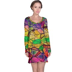 Abstract Squares Triangle Polygon Long Sleeve Nightdress