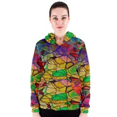 Abstract Squares Triangle Polygon Women s Zipper Hoodie
