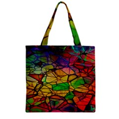 Abstract Squares Triangle Polygon Zipper Grocery Tote Bag
