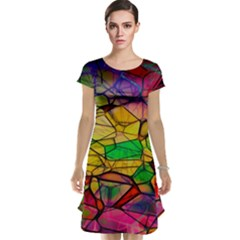 Abstract Squares Triangle Polygon Cap Sleeve Nightdress