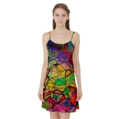 Abstract Squares Triangle Polygon Satin Night Slip