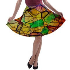 Abstract Squares Triangle Polygon A Line Skater Skirt