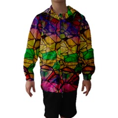 Abstract Squares Triangle Polygon Hooded Wind Breaker (kids)