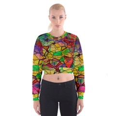 Abstract Squares Triangle Polygon Women s Cropped Sweatshirt