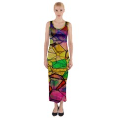 Abstract Squares Triangle Polygon Fitted Maxi Dress