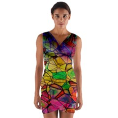 Abstract Squares Triangle Polygon Wrap Front Bodycon Dress