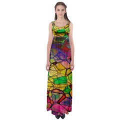 Abstract Squares Triangle Polygon Empire Waist Maxi Dress