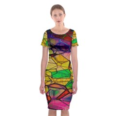 Abstract Squares Triangle Polygon Classic Short Sleeve Midi Dress
