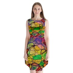 Abstract Squares Triangle Polygon Sleeveless Chiffon Dress