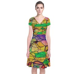 Abstract Squares Triangle Polygon Short Sleeve Front Wrap Dress