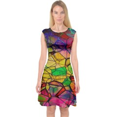 Abstract Squares Triangle Polygon Capsleeve Midi Dress