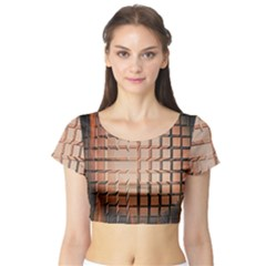Abstract Texture Background Pattern Short Sleeve Crop Top (tight Fit)