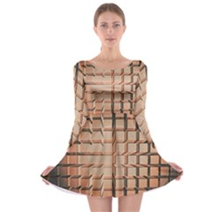 Abstract Texture Background Pattern Long Sleeve Skater Dress
