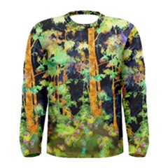 Abstract Trees Flowers Landscape Men s Long Sleeve Tee