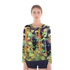 Abstract Trees Flowers Landscape Women s Long Sleeve Tee
