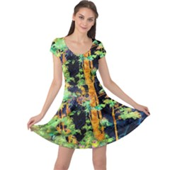 Abstract Trees Flowers Landscape Cap Sleeve Dresses