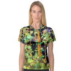 Abstract Trees Flowers Landscape Women s V-Neck Sport Mesh Tee